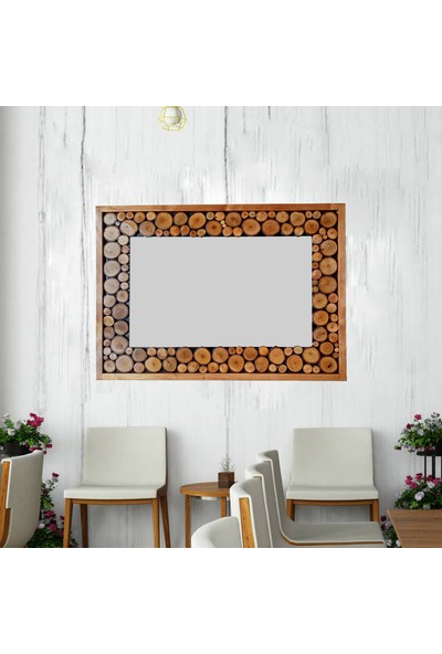 Dfn Wood Doğal Ahşap Çerçeveli Dikdörtgen Dekoratif Ayna