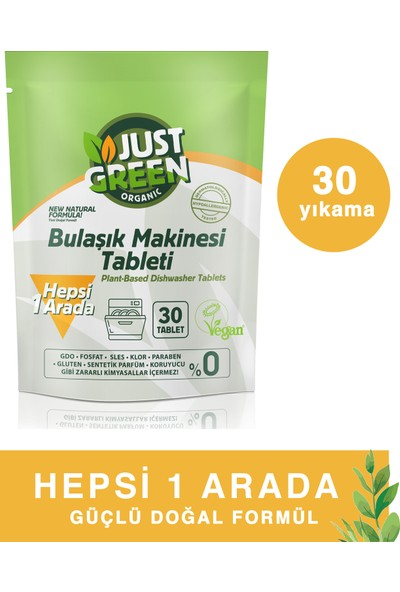 Just Green Organic Bulaşık Makinesi Tableti 30 Tablet 480gr