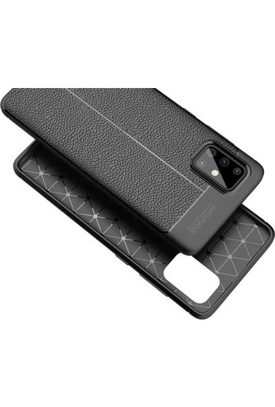 Tbkcase Samsung Galaxy A51 Kılıf Deri Dokulu Silikon Siyah