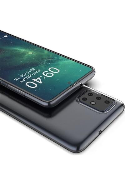 Tbkcase Samsung Galaxy A51 Kılıf Lüks Silikon Şeffaf + Nano Ekran Koruyucu