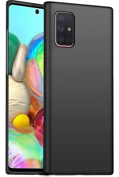 Tbkcase Samsung Galaxy A51 Kılıf Lüks Mat Silikon Siyah + Nano Ekran Koruyucu