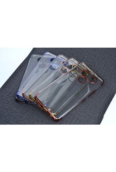 Happyshop LG K50S Kılıf 4 Köşe Renkli Laser Silikon + Nano Cam Ekran Koruyucu - Rose Gold