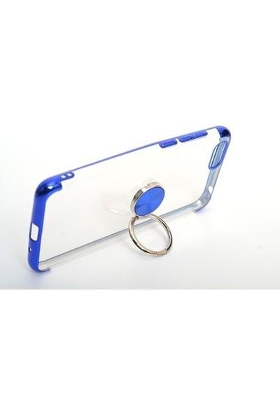 Happyshop LG K50S Kılıf 4 Köşe Renkli Yüzüklü Manyetik Gess Silikon + Nano Cam Ekran Koruyucu - Mavi