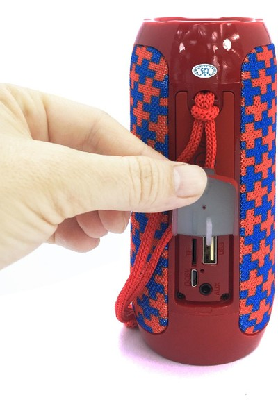 TG117 Silindir Su Geçirmez Bluetooth Hoparlör FM Radyo Kırmızı Mavi Artı