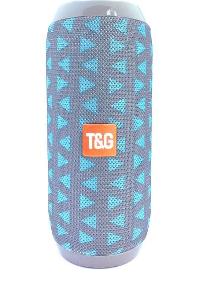 TG117 Silindir Su Geçirmez Bluetooth Hoparlör FM Radyo Açık Mavi Üçgen