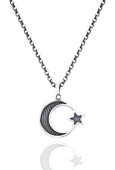 Chewell Gümüş Ay Yıldız Erkek Kolye