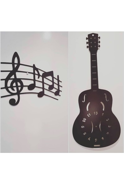 Perim Decor Gitar Model Siyah Duvar Saati