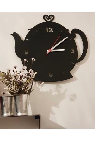 Perim Decor Çaydanlık Model Siyah Duvar Saati