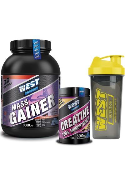 West Nutrition Mass Gainer Çilek Aromalı Karbonhidrat Tozu + Kreatin Paketi + Shaker