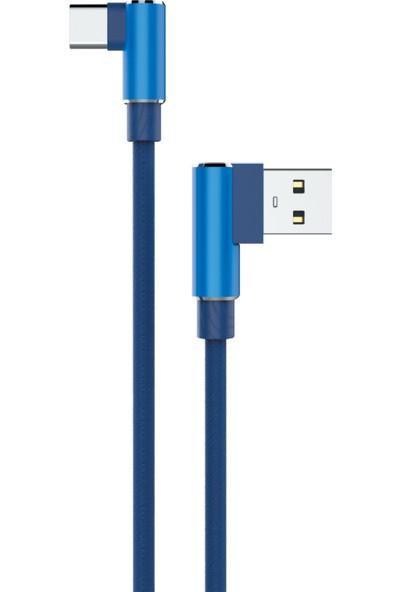Syronix Sunix Hasır Örgü Type-C Şarj ve Data Kablosu 3 mt Mavi