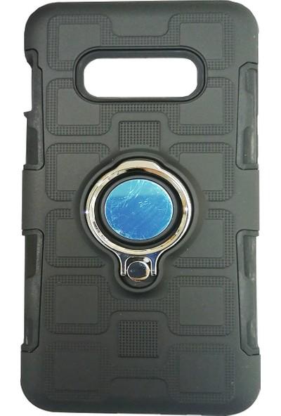 Haskom Samsung Galaxy S10 Plus Yüzüklü Mıknatıslı Zırhlı Silikon Kılıf