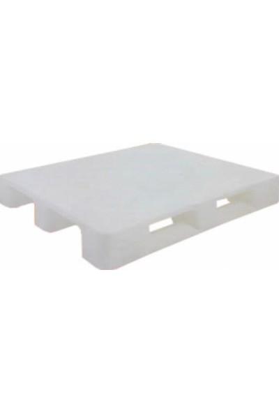 Hira Düz Desen Beyaz Plastik Taşıma Paleti 100 x 120 x 15 cm