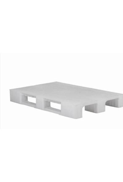 Hira Düz Desen Beyaz Plastik Taşıma Paleti 80 x 120 x 15 cm