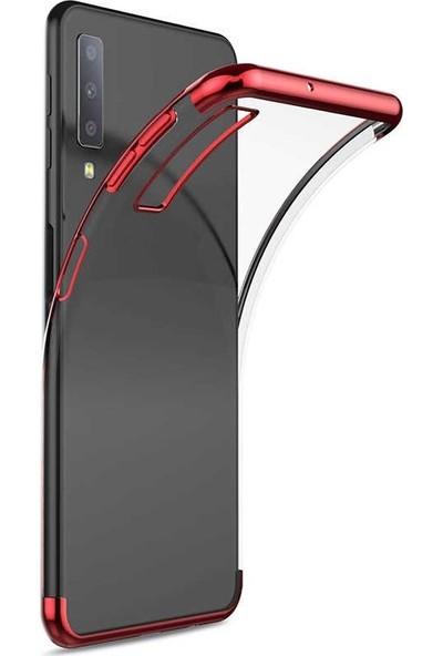 Gpack Alcatel 3X 2019 Kılıf Colored Silicone Yumuşak + Nano Glass Kırmızı