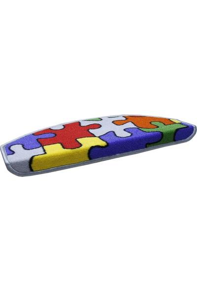 Stepmat Puzzle Desenli Çocuk Kreş Için Merdiven Basamak Paspası Halısı