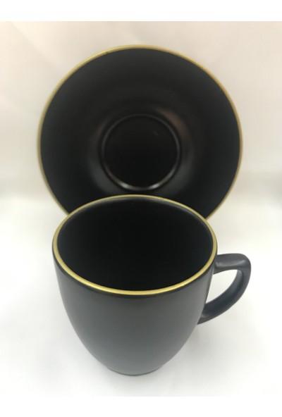 Keramika Kahve Fincanı Mat Siyah Malık Altın Fıle