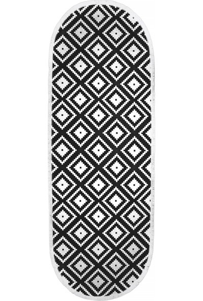 Diji Dekor Kaymaz Taban Dijital Oval Halı Salon Banyo Oda Koridor Mutfak Halısı Siyah Beyaz 80 x 50 cm