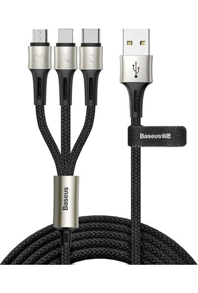 Baseus 3 Giriş Telefon Şarj Kablosu Siyah (İthalatçı Garantili)
