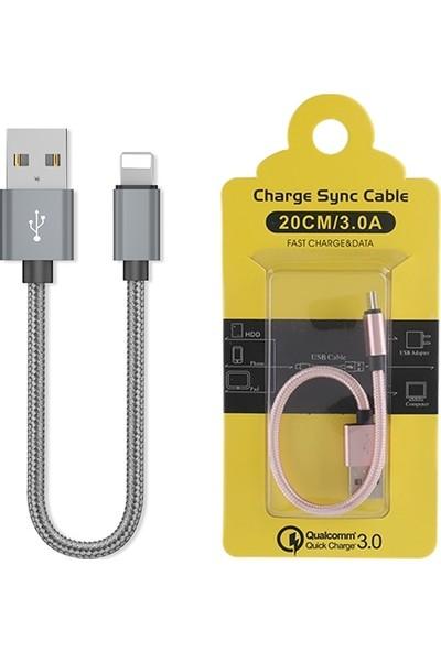 Ally Apple Lightning 3.0A Hızlı Şarj Kablosu Halat 20cm AL-29567 - Gri