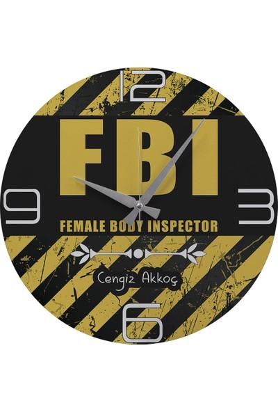 """Kraftolye Kişiye Özel FBI ''Female Body Inspector"""" Tasarımlı Hediye Saat 39 cm KA02-1725"""