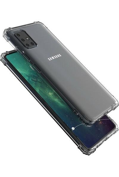 Case Street Samsung Galaxy A51 Kılıf AntiShock Ultra Koruma Kapak + Nano Glass Şeffaf