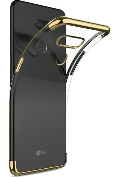 Case Street LG K50s Kılıf Colored Silicone Yumuşak + Nano Glass Gold