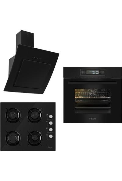 Ferre The Black Begonvil 3'lü Ankastre Set 2 ( 11002 Multifonksiyon Fırın + S 2140 Siyah Cam Ocak + S Fmc 600 Siyah Kumandalı Davlumbaz)