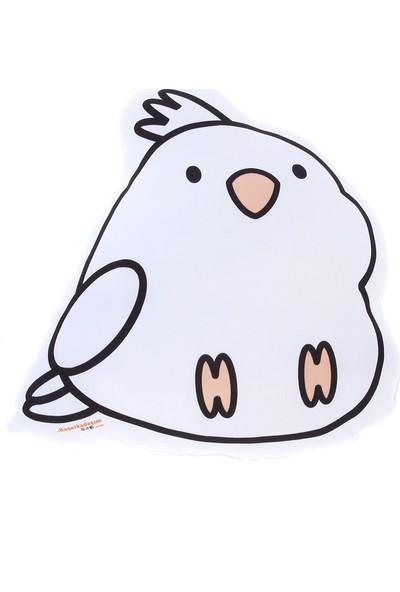 Kuş Arkadaşım Sultan Papağanı 3 Boyutlu Yastık Beyaz