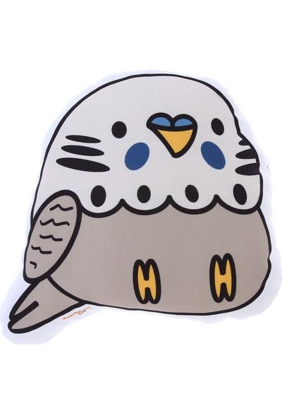 Kuş Arkadaşım Muhabbet Kuşu 3 Boyutlu Yastık Beyaz-Gri