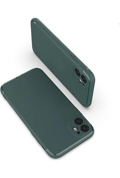 Case Street Apple iPhone 11 Kılıf Renkli Tıpalı Kamera Korumalı Silikon Haki + Full Kapatan Cam