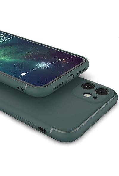 Case Street Apple iPhone 11 Kılıf Renkli Tıpalı Kamera Korumalı Silikon Siyah + Full Kapatan Cam
