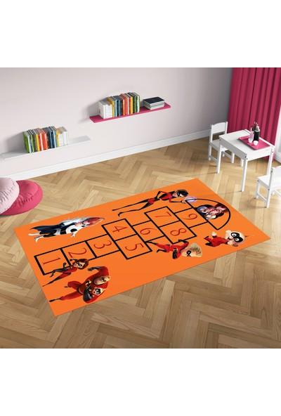 Hometeks İnanılmaz Aile2 Seksek Kaymaz Taban Çocuk Odası Halısı 60 x 100 cm