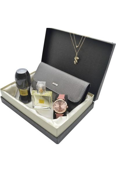 Spectrum Kadın Kol Saati Seti Bronz - Avon Parfüm - Deri Cüzdan - Kolye