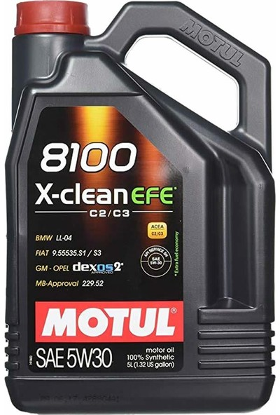 Motul 8100 X-Clean Efe 5W30 5Lt %100 Sentetik Motor Yağı
