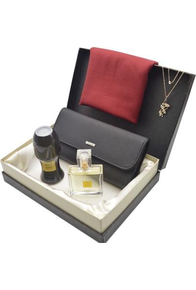 Karlino Kadın Cüzdan Siyah - Paşmina Şal - Avon Parfüm - Kelebek Kolye - Roll On