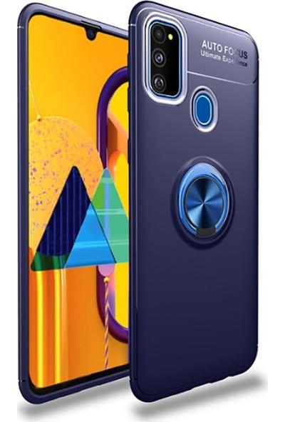 BizimGross Samsung Galaxy M30S Kılıf Yüzüklü Mıknatıslı Tank Ultron Telefon Kılıfı Mavi