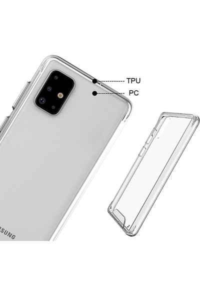 KNY Samsung Galaxy A51 Kılıf Silikon Kenarlı Sert Gard Kapak+Cam Ekran Koruyucu