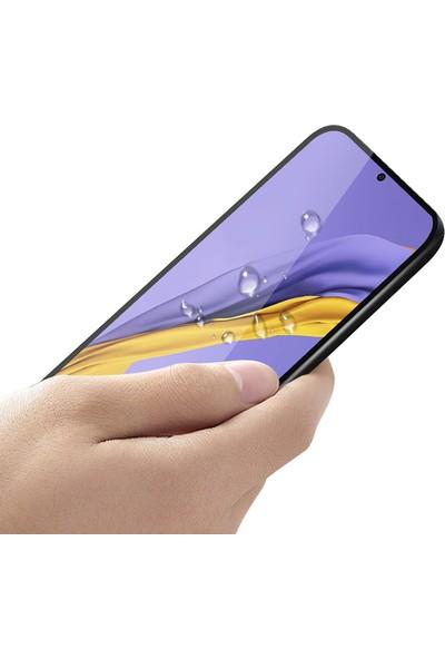 KNY Samsung Galaxy A51 Kenarı Kırılmaya Dayanıklı Full Yapışan 5D Cam Ekran Koruyucu Siyah