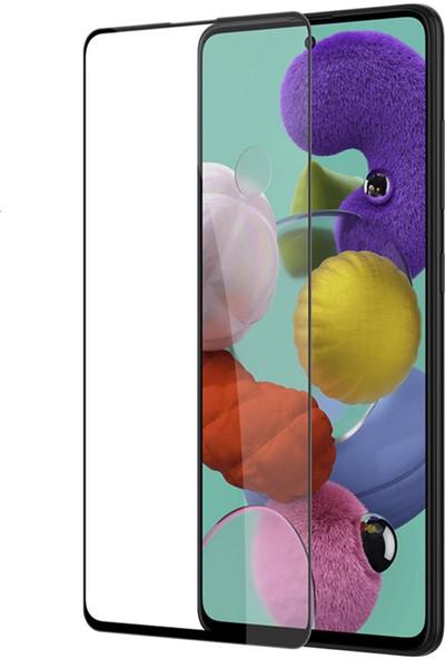 KNY Samsung Galaxy A71 Full Yapışan 5D Fiber Nano Ekran Koruyucu Siyah
