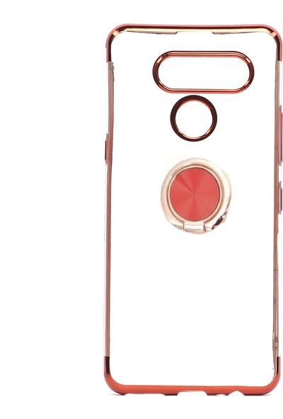 KNY LG K50S Kılıf 4 Köşe Renkli Yüzüklü Manyetik Gess Silikon+Cam Ekran Koruyucu