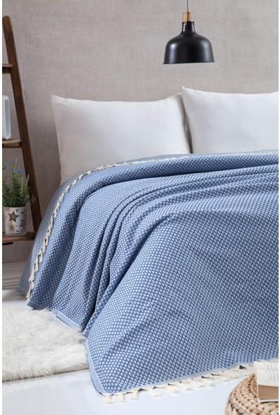 Miss Loya Battal Boy Peştamal Yatak Örtüsü Mavi