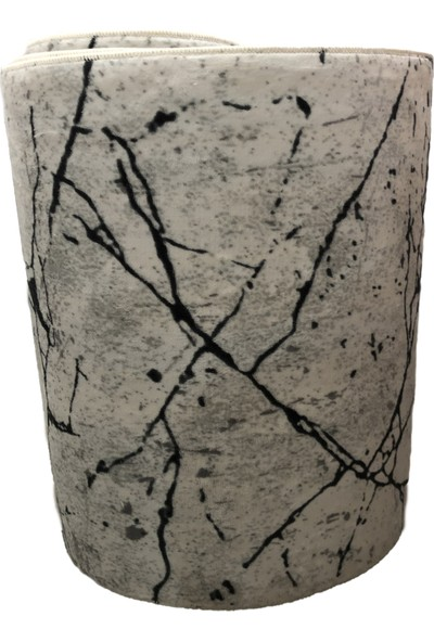 Sarar Siyah Beyaz Jel Kaymaz Taban Gri Renk Kesme Yolluk Halı En 80 cm