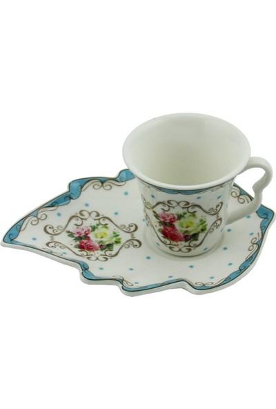 Ms Morry 6'lı Yaprak Tabaklı Porselen Kahve Fincan Takımı