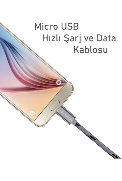 Helixsun 3.0A Micro USB Hızlı Şarj Kablosu Android 1 Metre - Füme