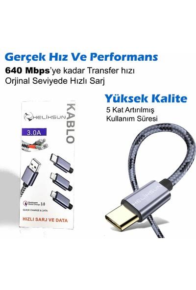 Helixsun 3.0A Usb Type-C Hızlı Şarj ve Data Kablosu - 2 mt Füme