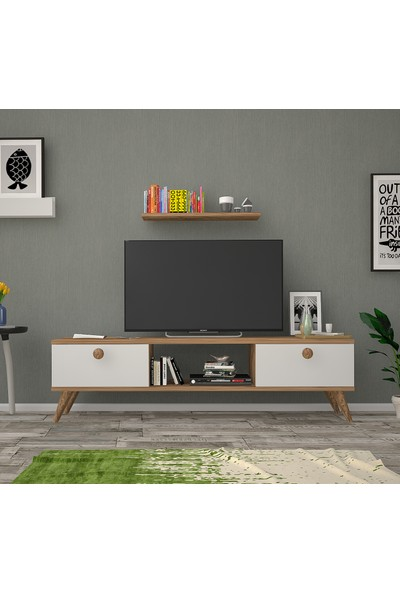 Ankara Mobilya Bena Mobilya Emre Atlantik Çam Beyaz 140 cm Tv Sehpası