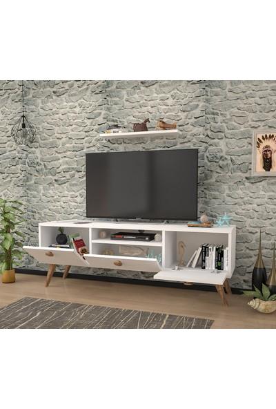 Ankara Mobilya Penta Beyaz Atlantik Çam 160 cm Tv Sehpası