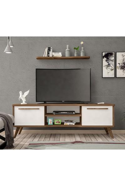 Ankara Mobilya Boreas Ceviz Beyaz 140 cm Tv Sehpası