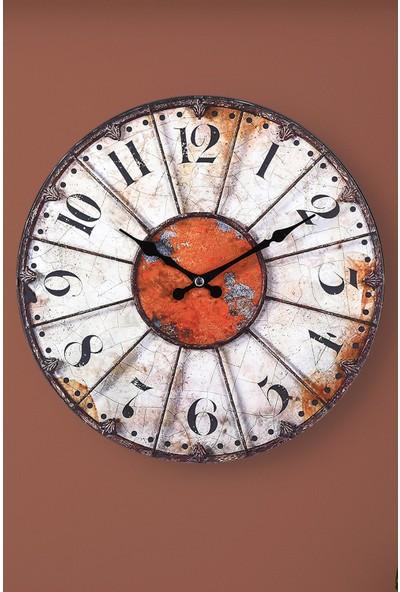 Muyika Rosso Oval Ön Kısım Eskitme 36CM Duvar Saati