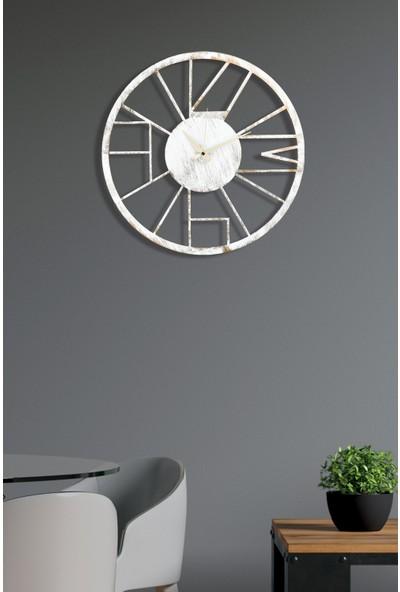 Muyika Linda Metal Beyaz Eskitme Duvar Saati 50X50CM